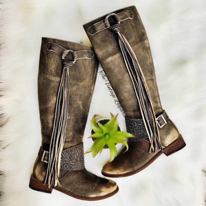 Very Volatile Rainstorm Tooled Charcoal Leather Riding Boot