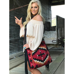 Red Raider Vintage Saddle Blanket & Leather Fringe Handbag