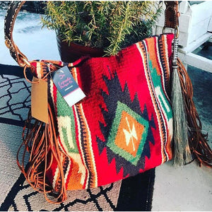 Red River Vintage Saddle Blanket & Leather Fringe Handbag