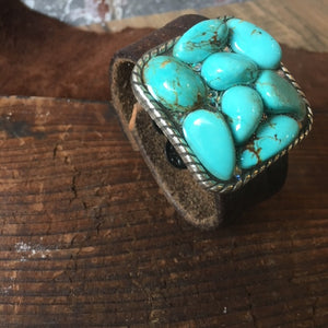 ReLoved Leather Turquoise Swarovski Vintage Cuff