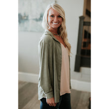 Renae Sage Faux Suede Button Down