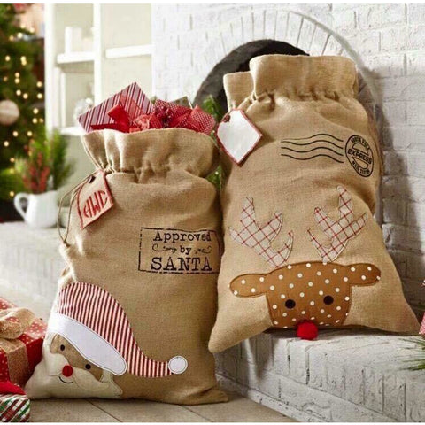 Christmas Canvas Santa Bags