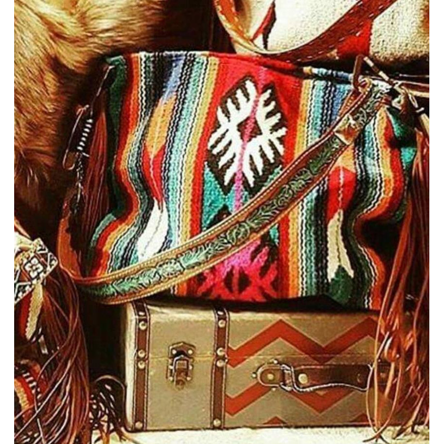 Serape Dream Vintage Saddle Blanket & Leather Fringe Handbag