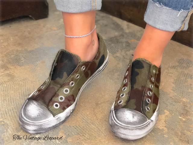 Leather Camoflauge Shalomar Slip On Sneakers