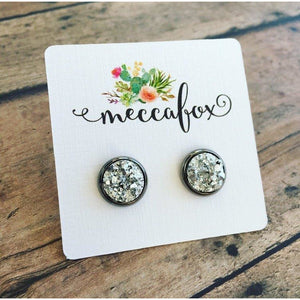 Silver Druzy Gunmetal Stud Earrings