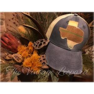 Sol Serape Texas Denim Distressed Cap