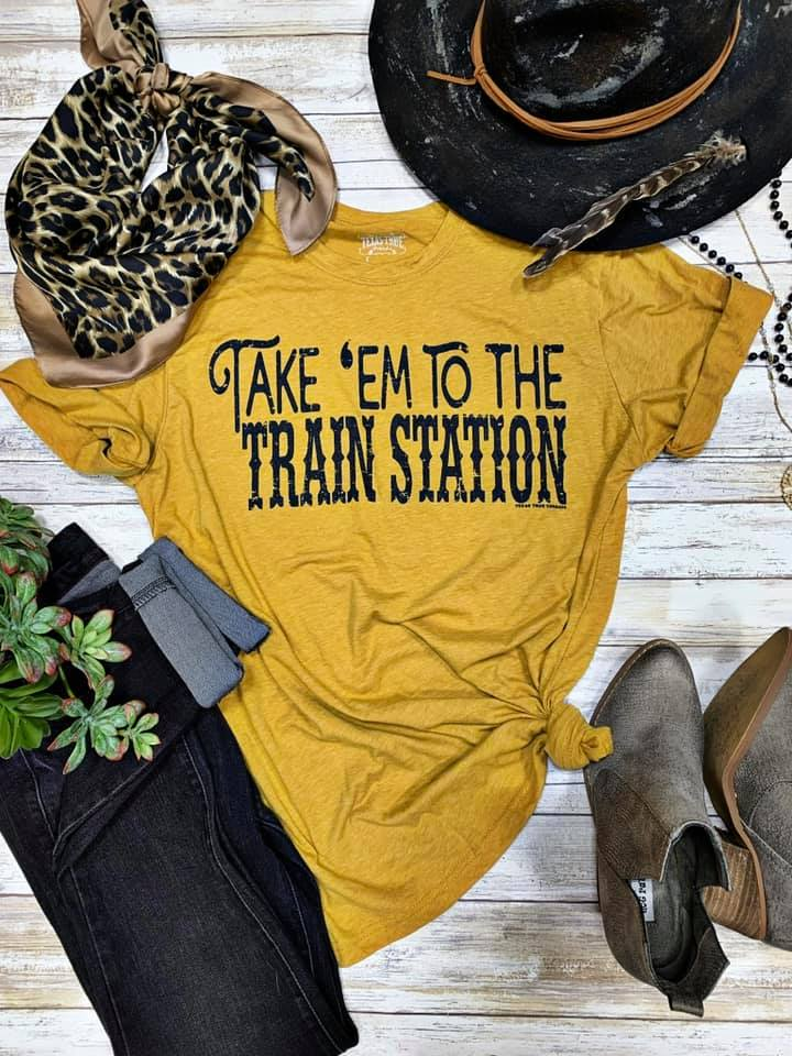 Train Station Vintage Gold Tee