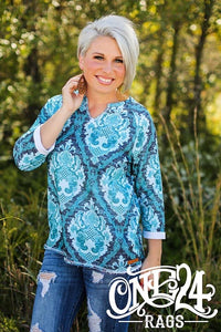 Turquoise Damask Raw Edge Sweatshirt