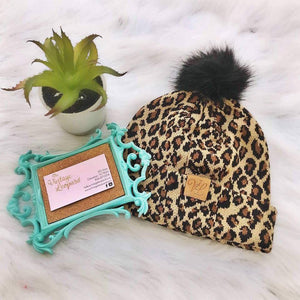 Leopard Pom Cable Knit Beanies