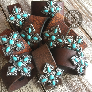 EXCLUSIVE ReLoved Leather Branded Leopard Turquoise Cross Vintage Cuff