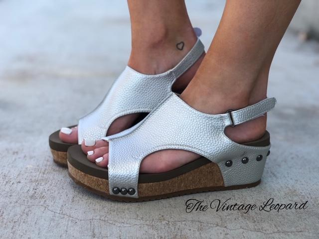 Corky's Volta Silver Stud Cork Wedge
