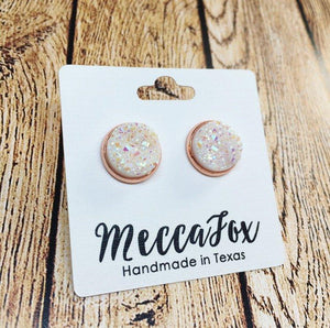 Rose Gold White Sparkle Druzy Stud Earrings