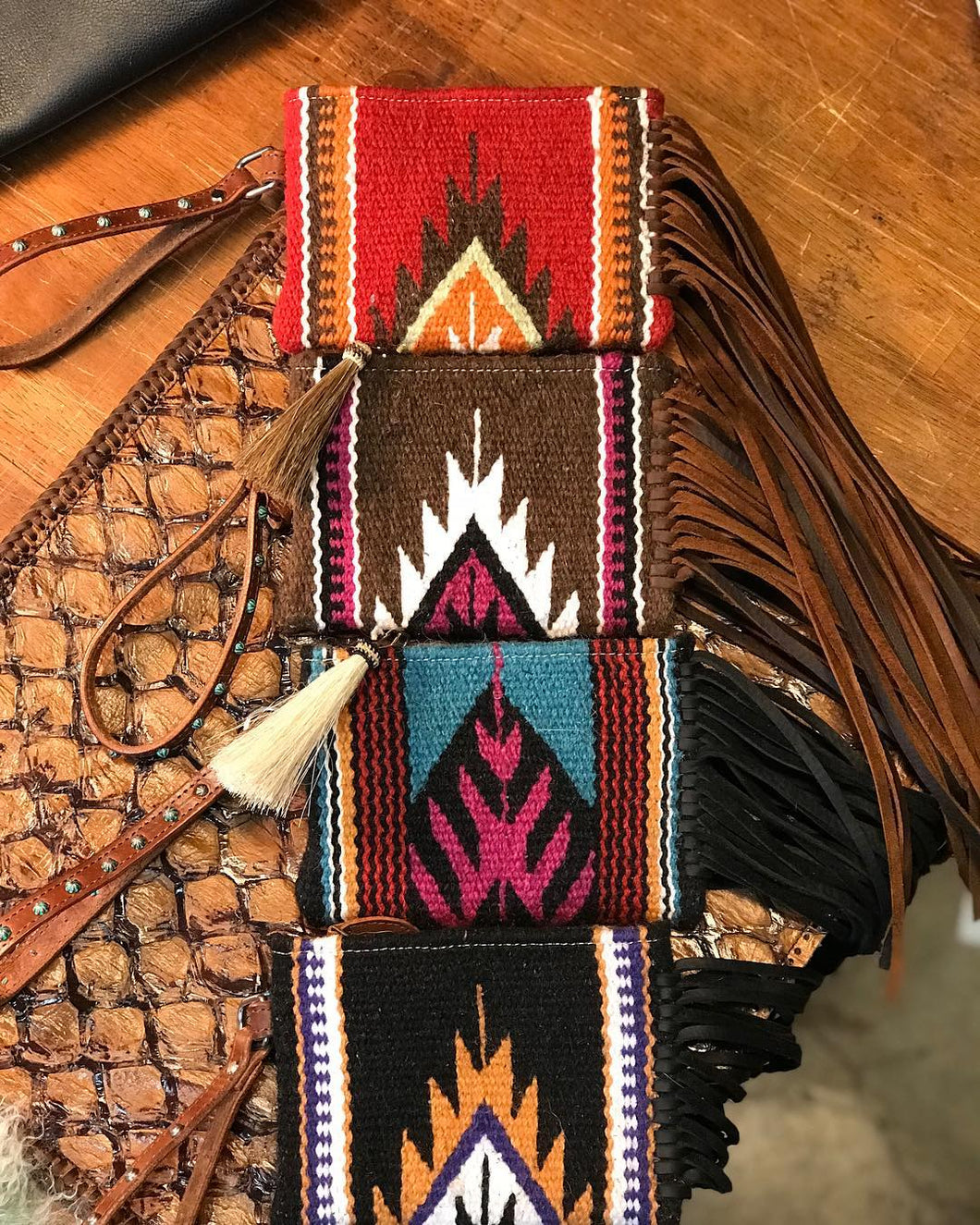NFR Vintage Saddle Blanket & Leather Fringe Wristlet