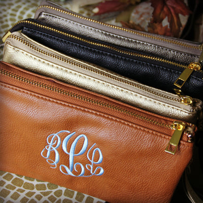 Leatherette Cross Body w/Monogram