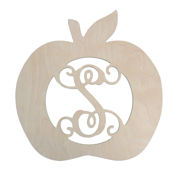 Apple Single Initial Wood Design