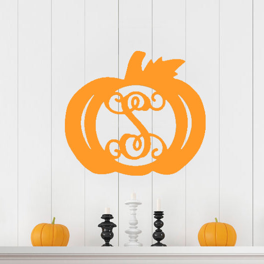 Pumpkin Single Initial Wood Design