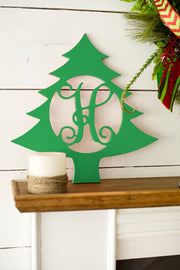 Christmas Tree Single Initial Wood Design