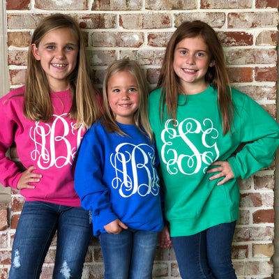 Youth Monogrammed Sweatshirt - Several Fall Color Options