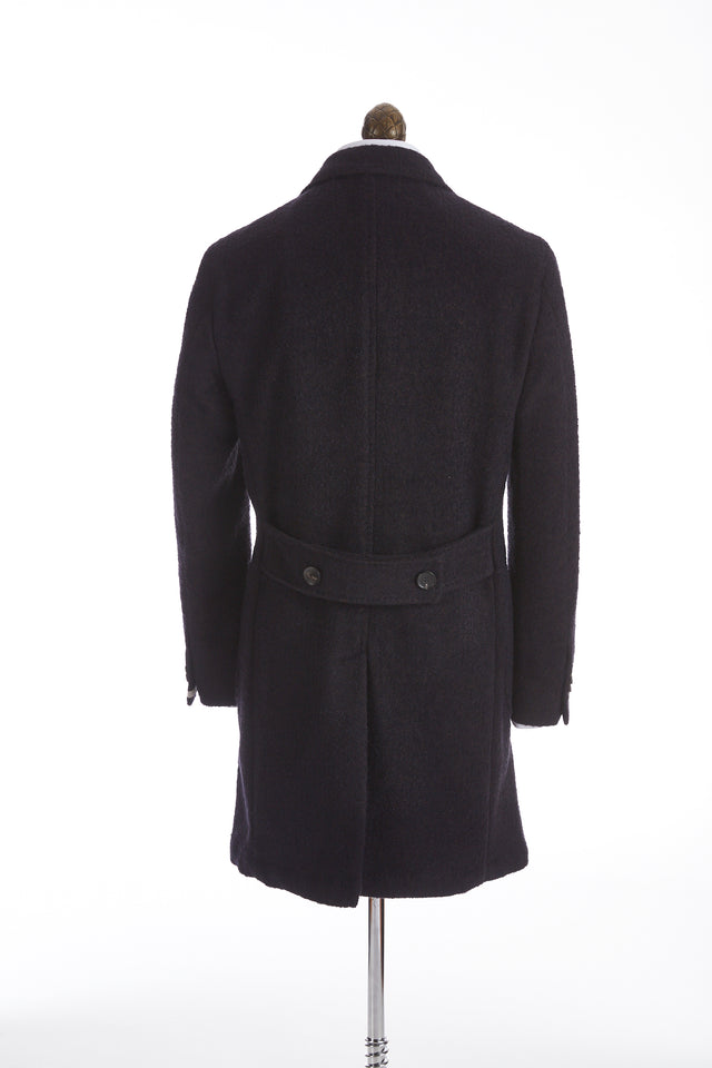 0909 Navy Slubbed Wool Double Breasted Topcoat - Outerwear - 0909 - LALONDE's