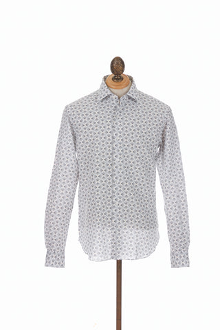 Culturata Directional Arrow Print Linen Shirt Front