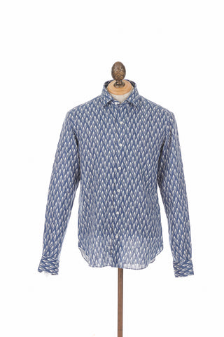 Culturata Navy Feather Print Linen Shirt Front