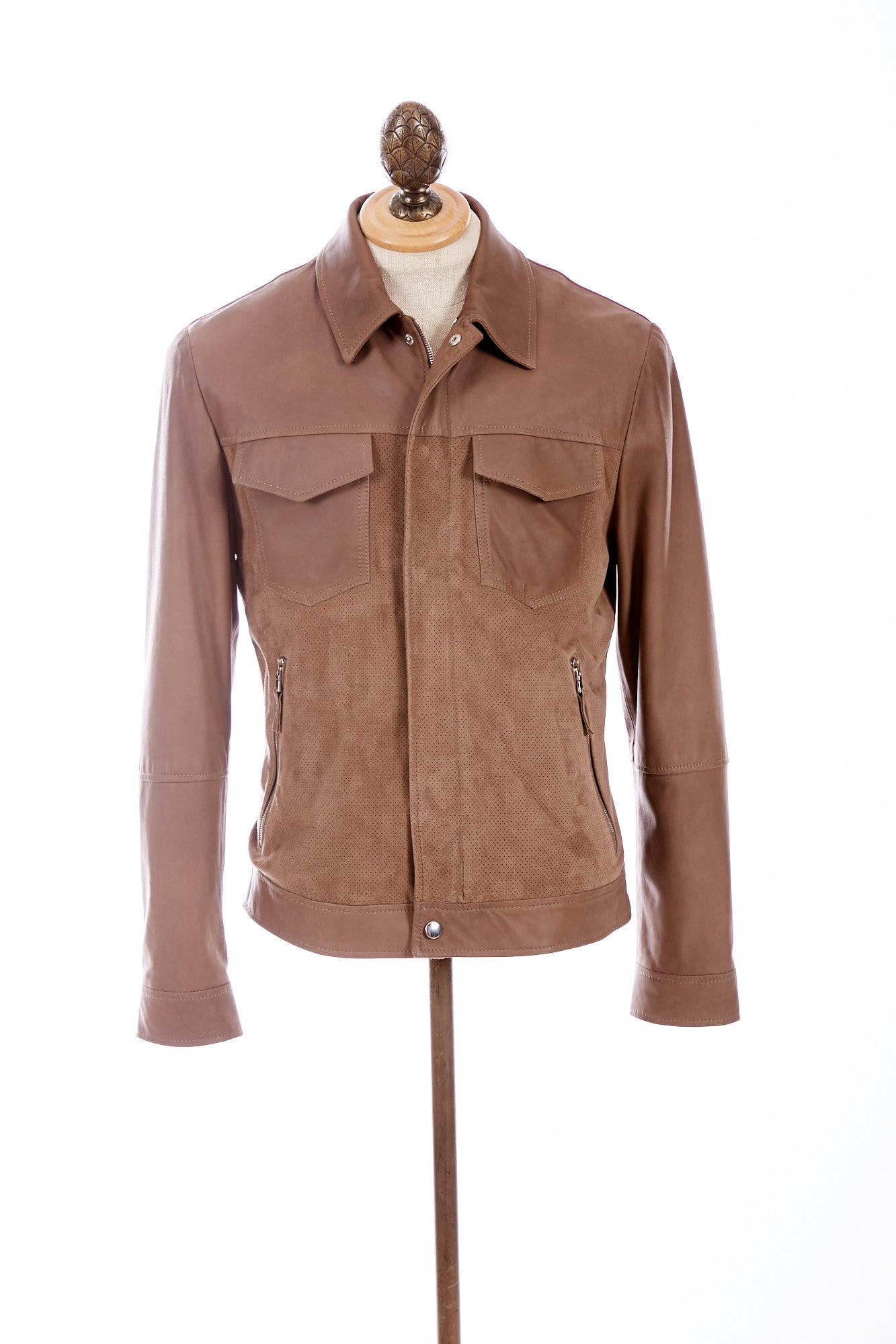 Eleventy Goat Suede and Leather Bomber - Outerwear - Eleventy - LALONDE's