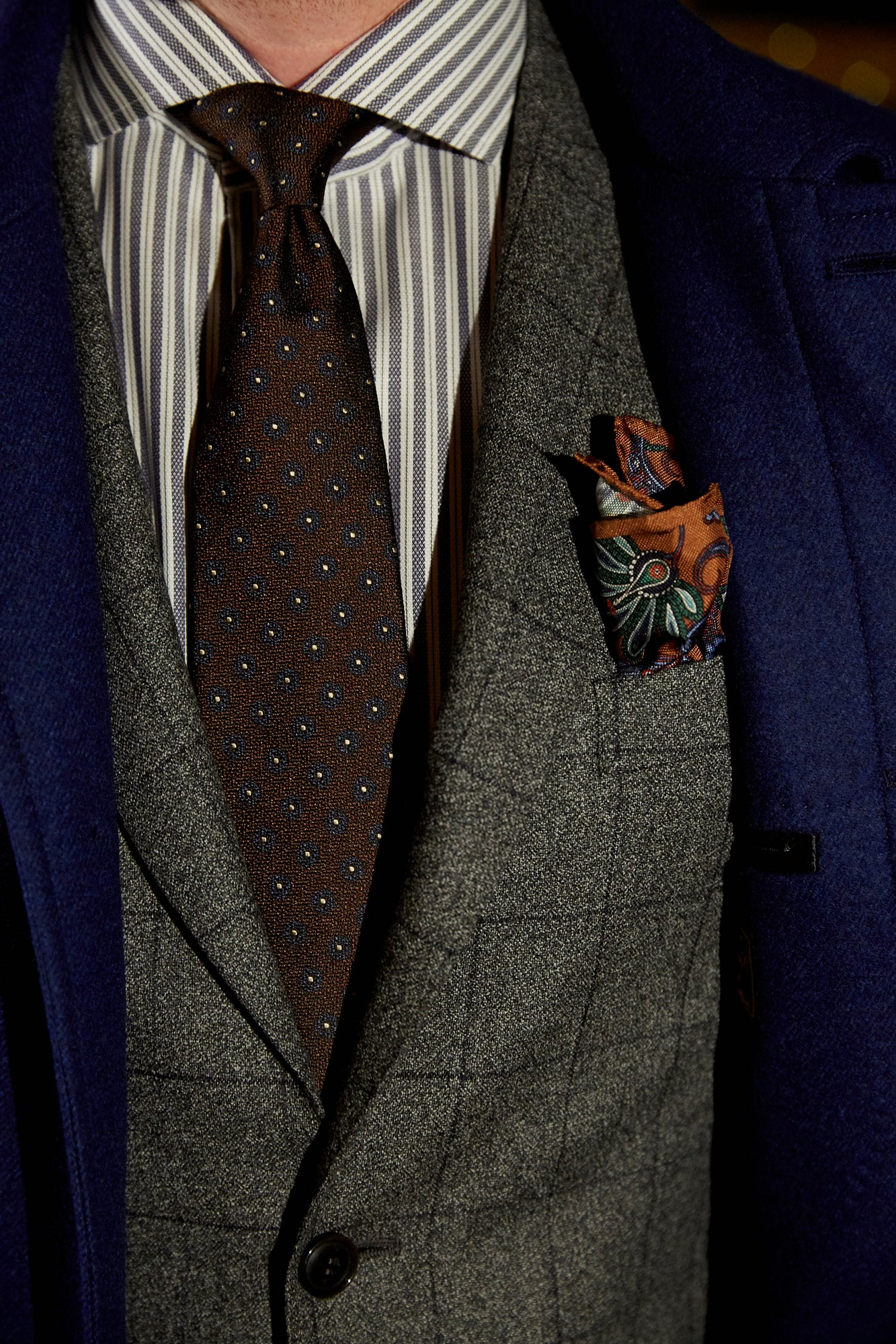 Canali crepe windowpane Suit closeup - LALONDE's