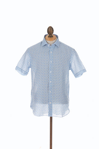 Culturata Diamond Print Linen Short Sleeve Shirt