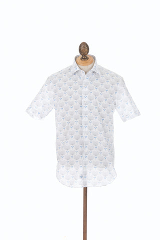 Culturata Dot Floral Print Short Sleeve Shirt