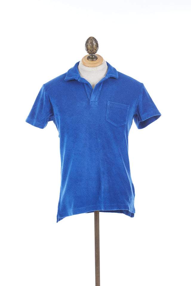 Orlebar Brown TERRY Blue Towelling Resort Polo - 250286 - Front