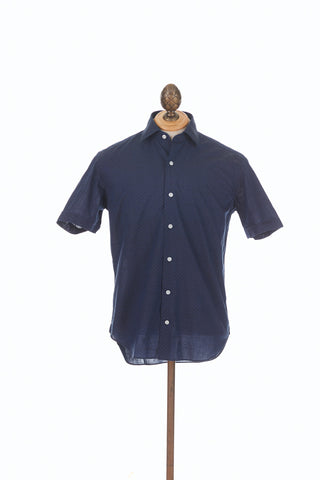 Culturata Navy Dot Print Short Sleeve Shirt Front