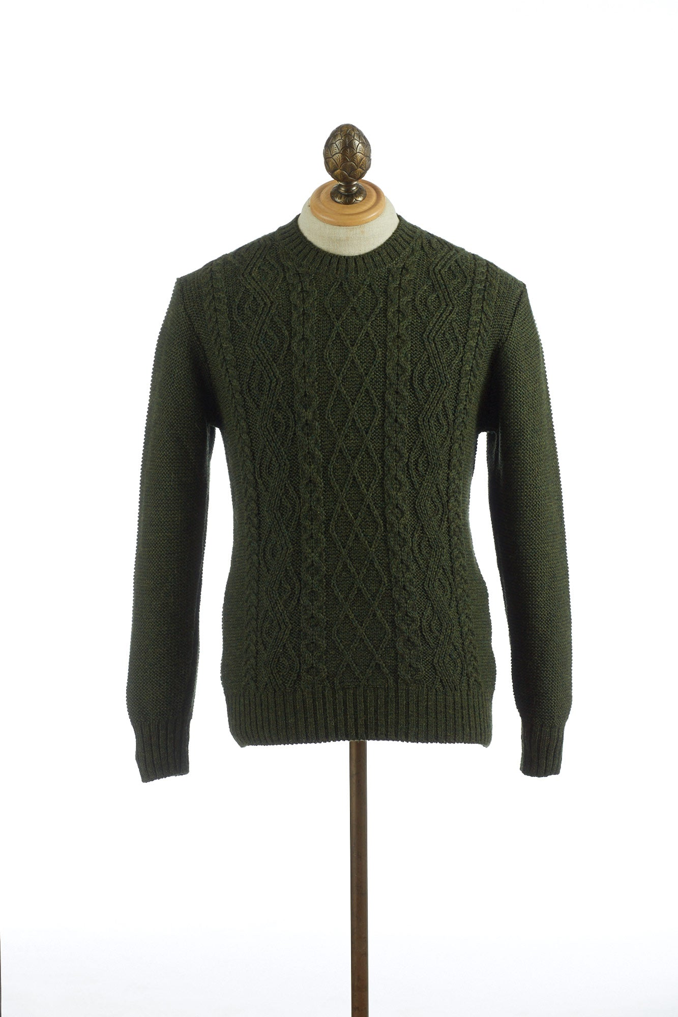 Inis Meáin Aran Green Cable Knit Crewneck Sweater
