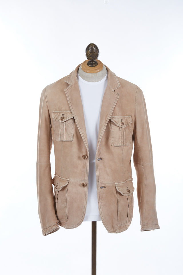 Gimo's Tan Lamb Suede Leather Jacket -6J200-32W614 - Lalonde's Oakville, Toronto, Canada