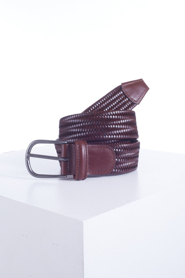 Anderson's Brown Leather Woven Belt - Accessories - Anderson's - LALONDE's