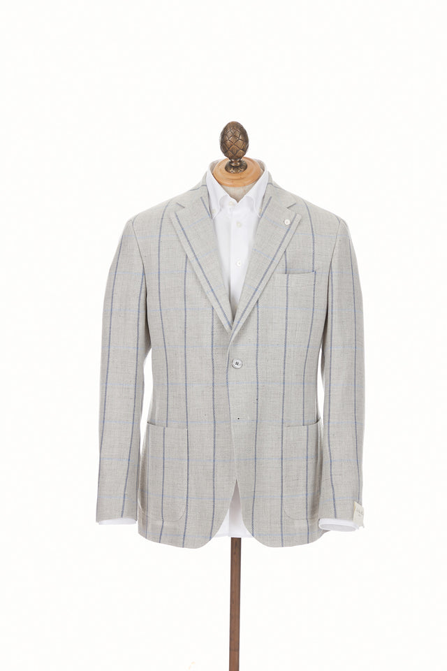 Luigi Bianchi Mantova Grey Windowpane Sport Jacket - 2403 72775 - Front
