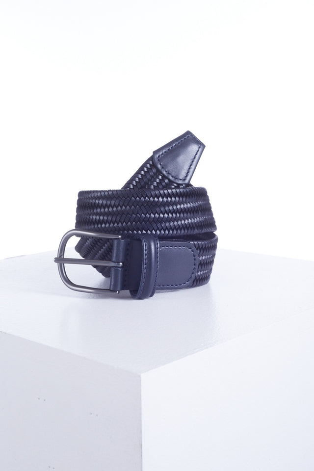 Anderson's Navy Leather Woven Belt - Accessories - Anderson's - LALONDE's