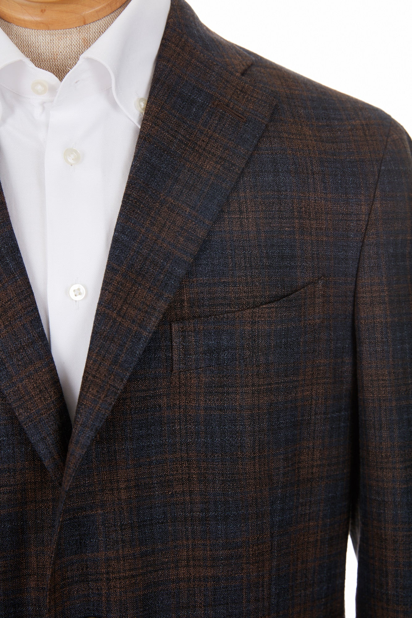 Boglioli 'K-Jacket' Brown & Navy Check Sport Jacket - Blazer, Sport Coat -Model: N2902E. Pocket
