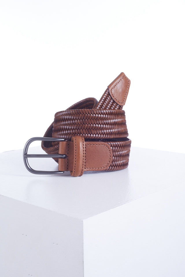 Anderson's Light Brown Leather Woven Belt - Accessories - Anderson's - LALONDE's