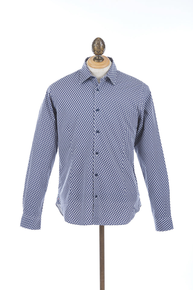 Orlebar Brown Morton Navy Tailored Long Sleeve Shirt - 265008 - Lalonde's Online Boutique