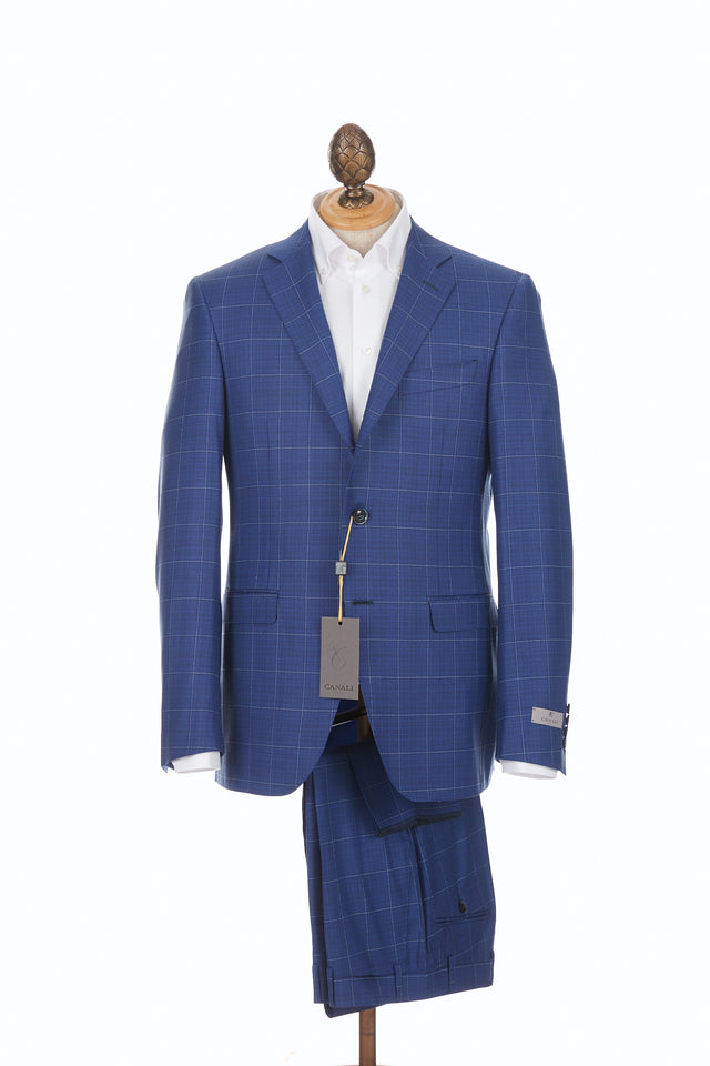 Canali Blue & White Windowpane Suit