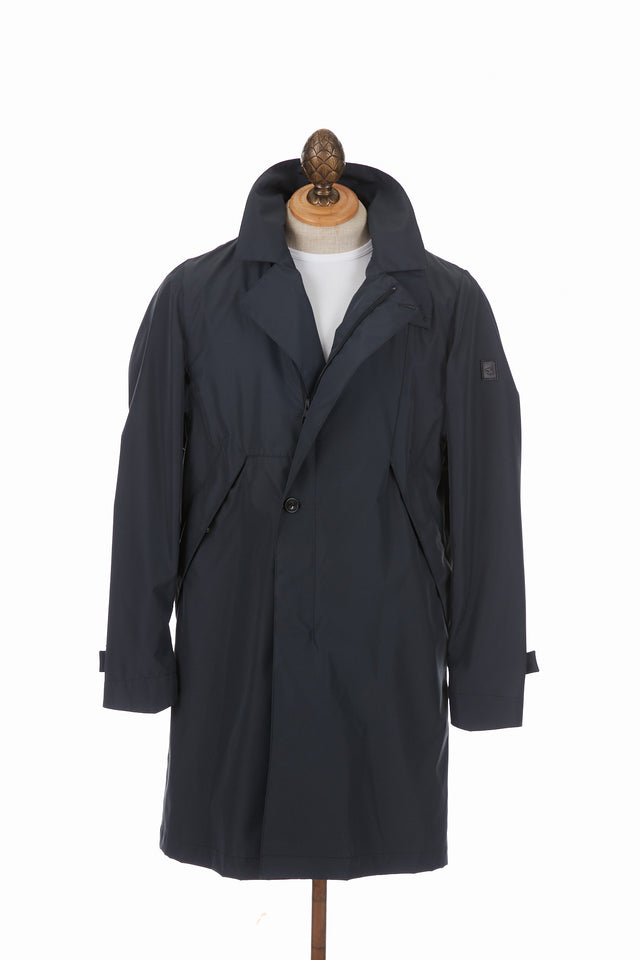 Montecore Navy Packable Trench Coat. Lalonde's Oakville, Toronto, Canada