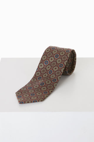 Drake's Traditional Medaillion Print Silk Tie