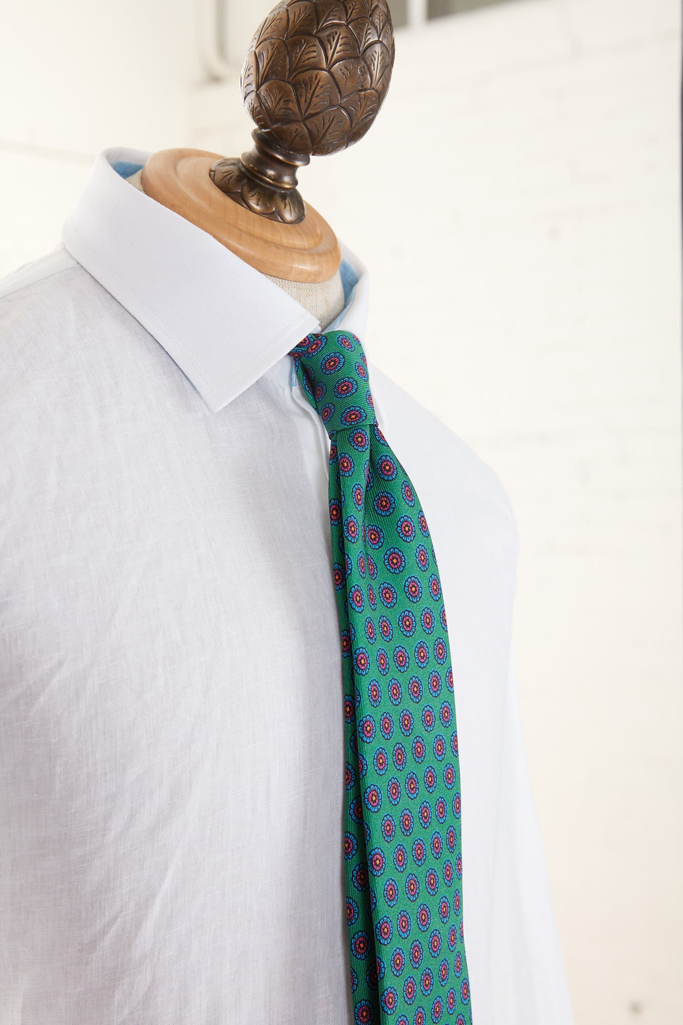 Drake's Green Floral Printed Silk Tie T4EH.17225.003 Side