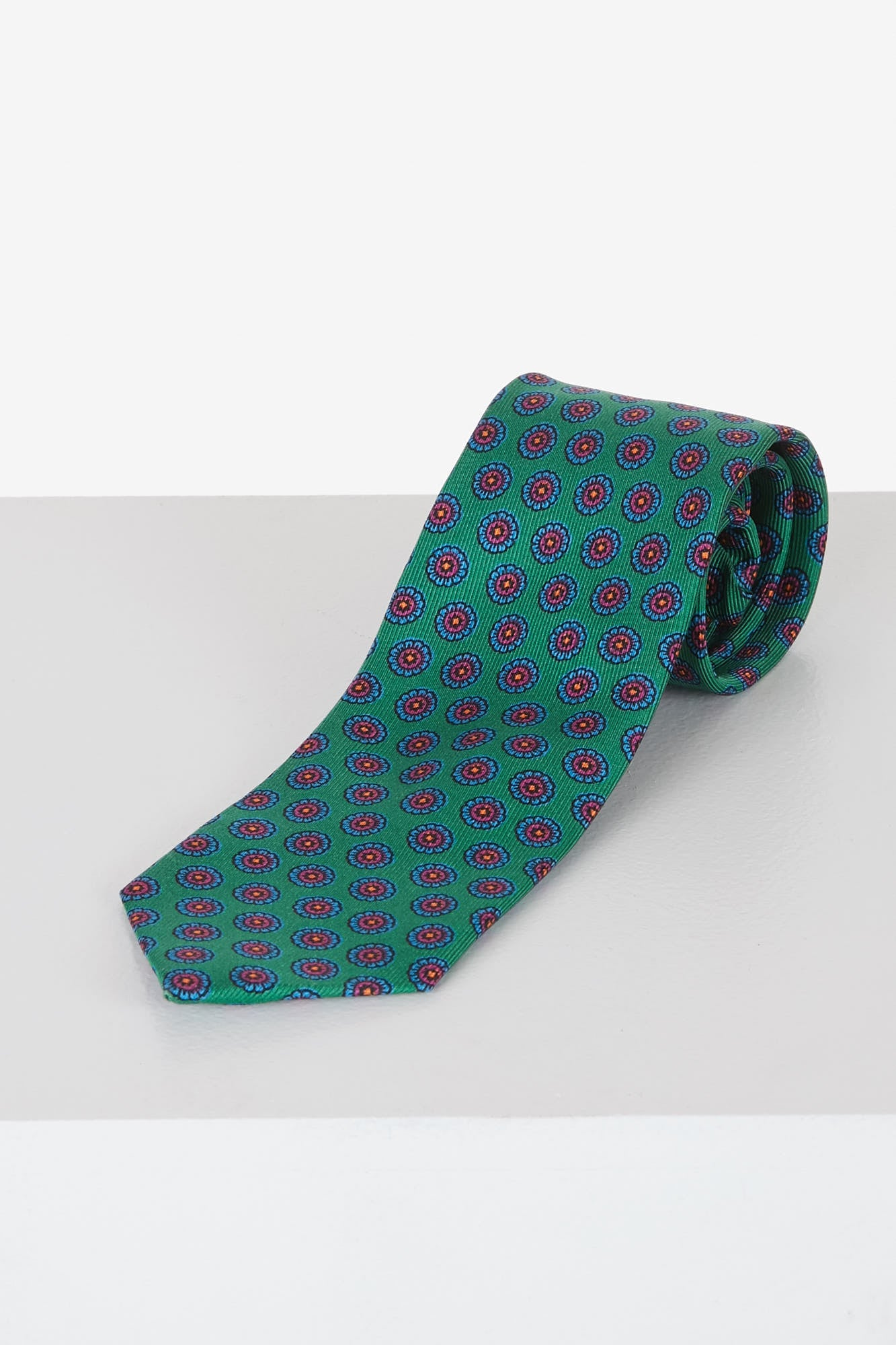 Drake's Green Floral Printed Silk Tie T4EH.17225.003 Front