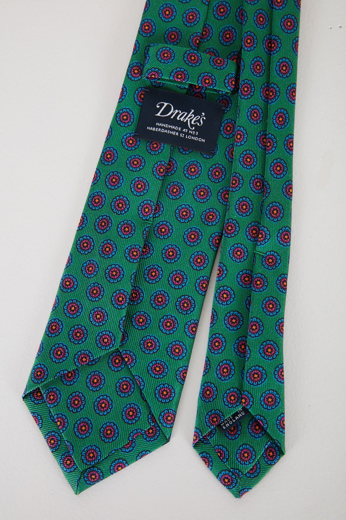 Drake's Green Floral Printed Silk Tie T4EH.17225.003 Back
