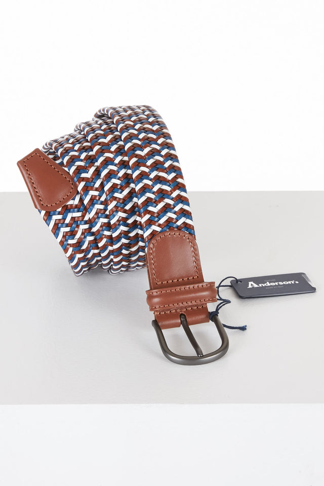 Anderson's White/Brown/Blue Braided Elastic Belt - Accessories - Anderson's - LALONDE's