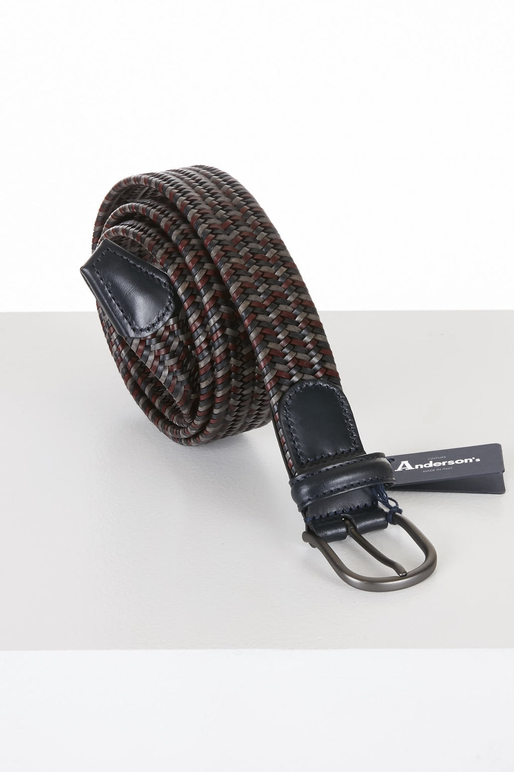 Anderson's Belt Multicoloured Black/Grey/Maroon Leather Stretch - Lalonde's Oakville, Toronto Canada