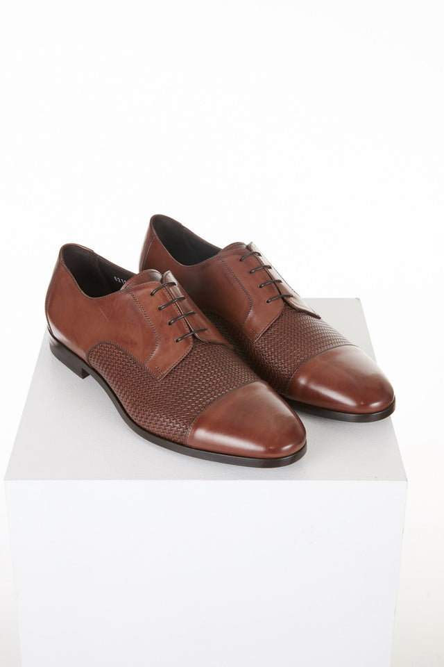 Canali Brown Printed Leather Derby Shoes