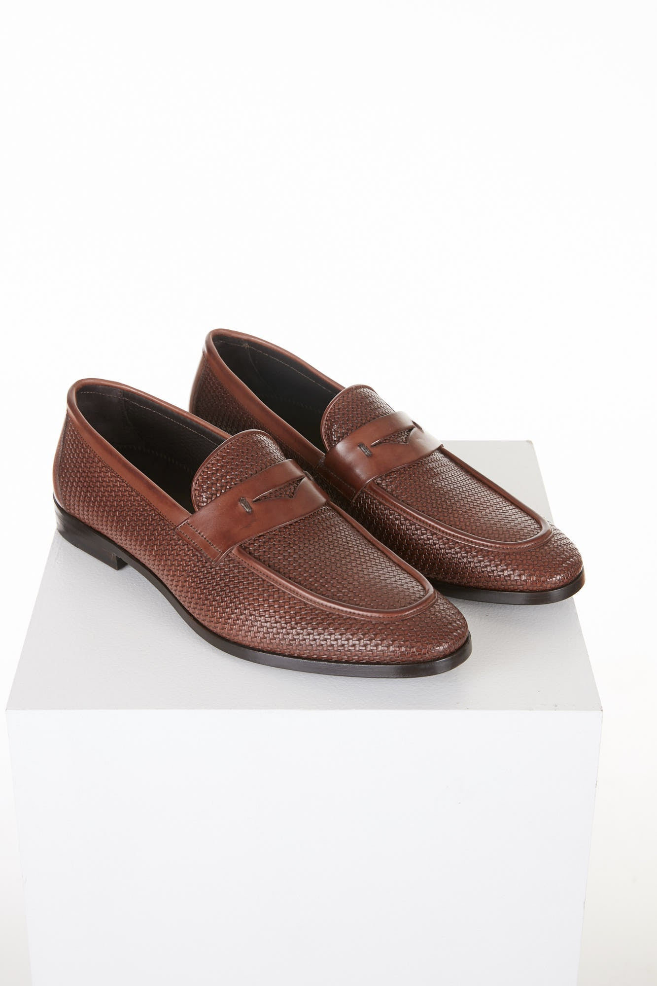 Canali Brown Printed Leather Penny Loafers - Shoes - Canali - LALONDE's