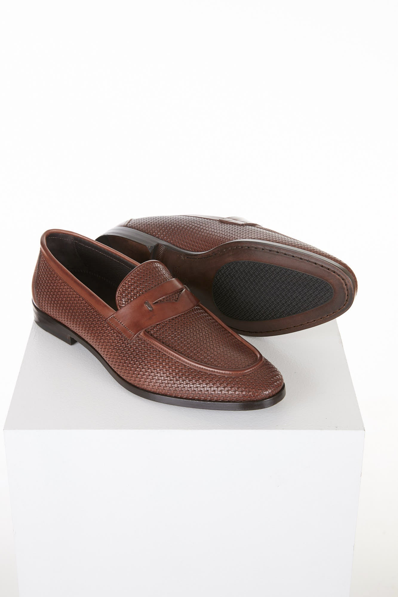 Canali Brown Printed Leather Penny Loafers